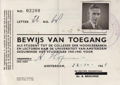1941 Collegekaart