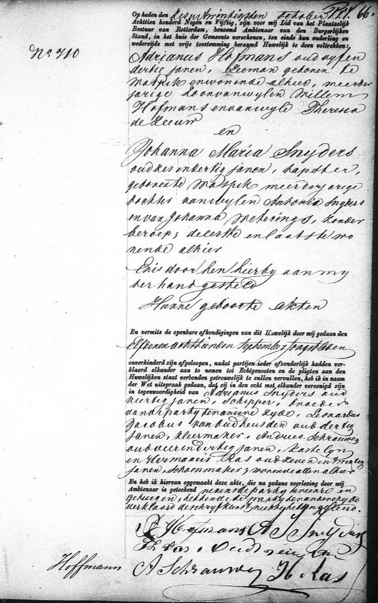 1859.02.23 Huwelijk Adrianus Hofmans & Johanna Maria Snijders-A