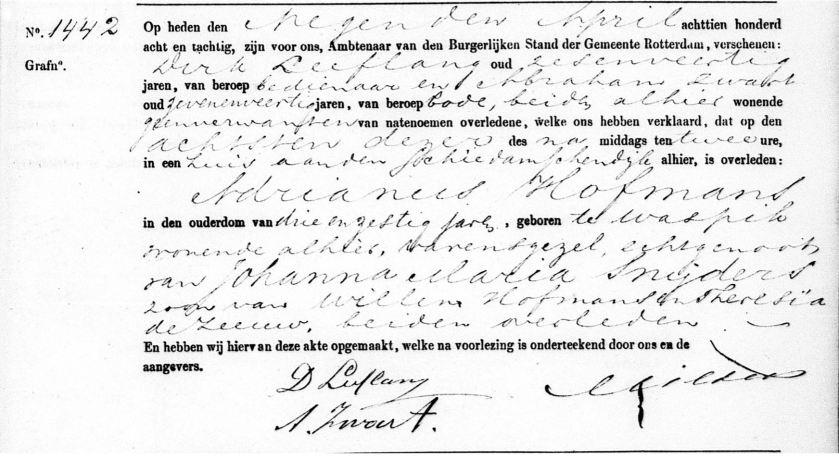 1888.04.18 Overlijden Adrianus Hofmans-A
