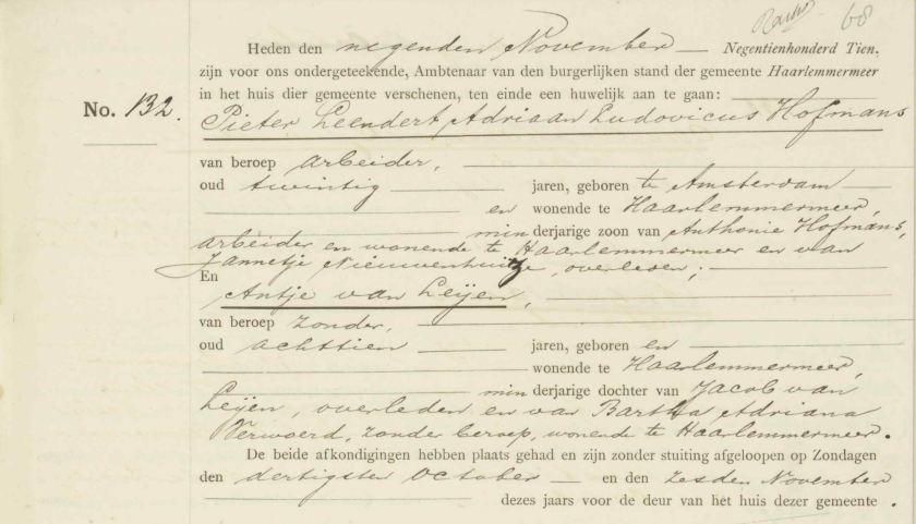 1910.11.09 Huwelijk Hofmans-Van Leije-An