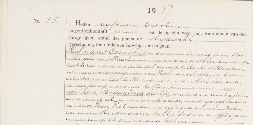 1937.10.15 Huwelijk Cornelis-A