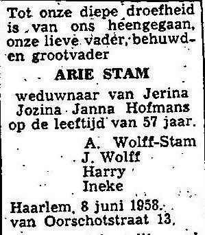 1958 Overlijdensadvertentie Arie Stam-A