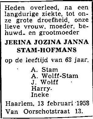 1958 Overlijdensadvertentie Jerina Hofmans-A