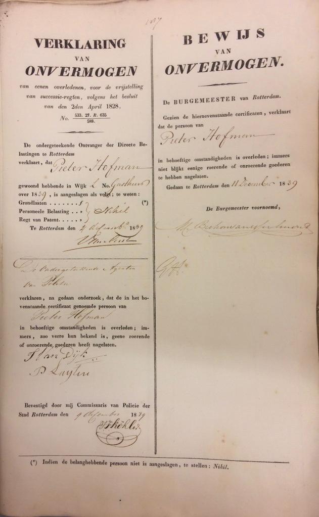 1839 Bewijs van Onvermogen