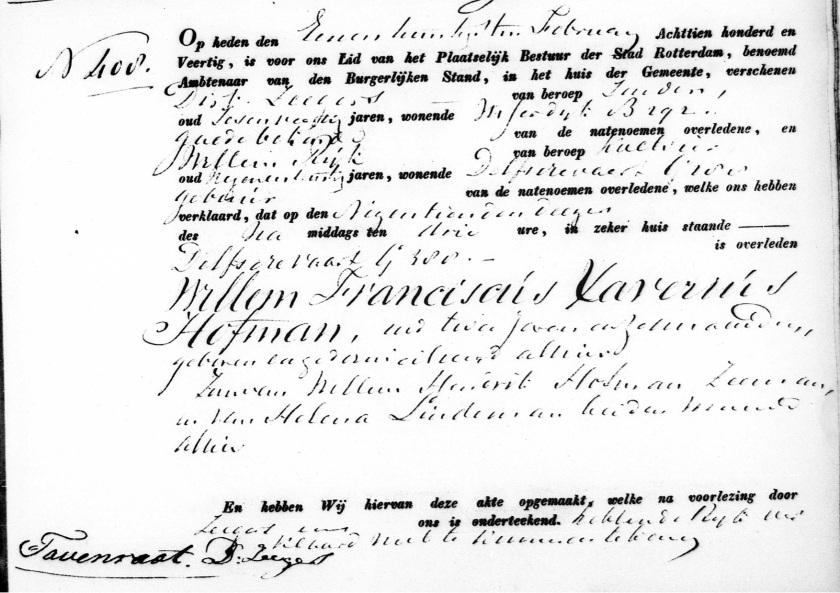 1840.02.19 Overlijden Willem Franciscus Xaverius