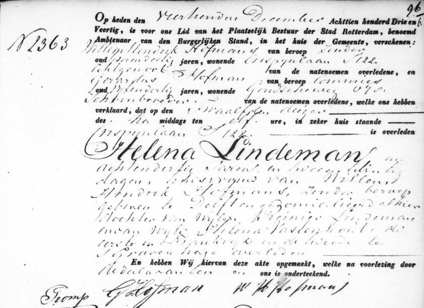 1843.12.12 Overlijden Helena Lindeman