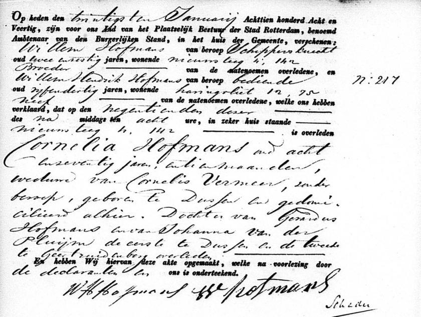 1841.01.19 Overlijden Cornelia II Hofmans