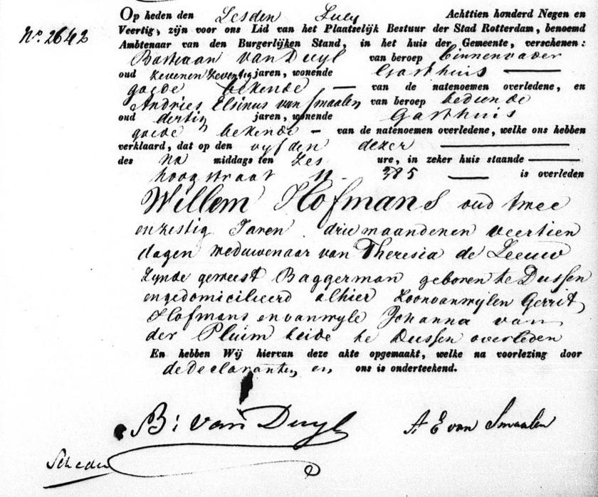 1849.07.05 Overlijden Willem Hofmans
