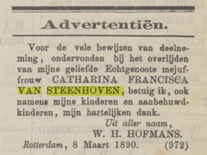 1890.03.09 Advertentie Maasbode