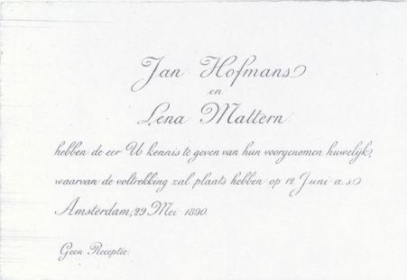 1890.05.29 Huwelijksaankondiging Jan&Lena