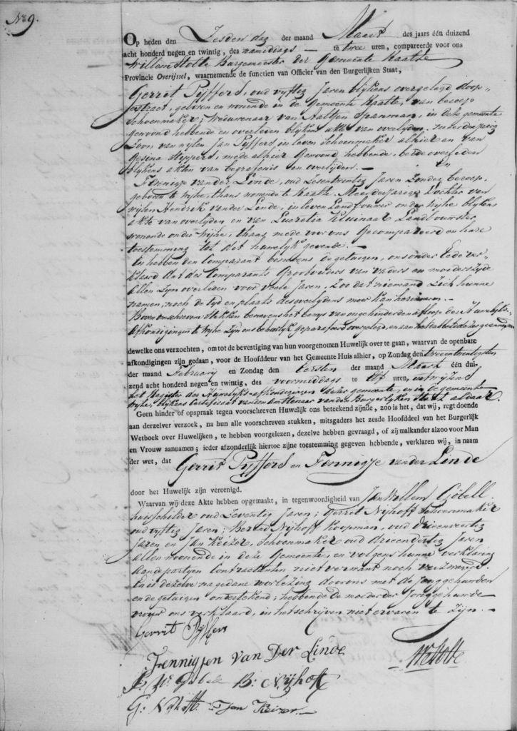 1829.03.06 Huwelijk 1 van Fennigje van der Linde – A