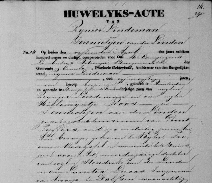 1839.04.15 BS Ermelo Huwelijk met Fennichjen vd Linden (1) – B