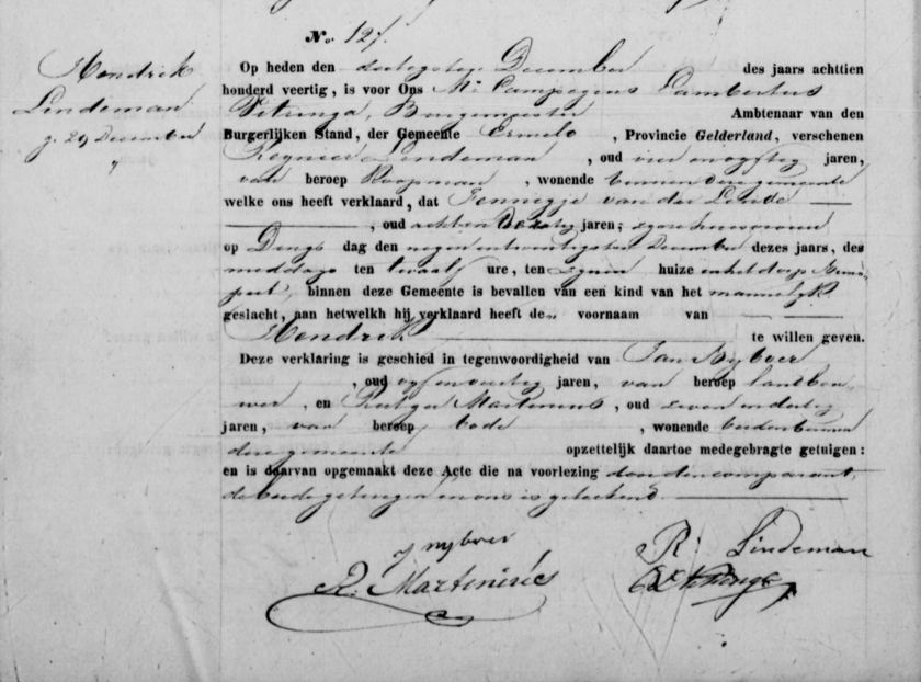 1840.12.29 BS Nunspeet Geboorte Hendrik Lindeman – A