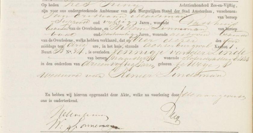 1856.06.04 BS Asd Overlijden Fennigje van der Linde – A
