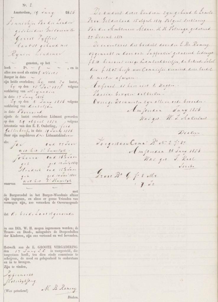 1856.06.19 Asd Aanvraag Diaconie Weeshuis – A