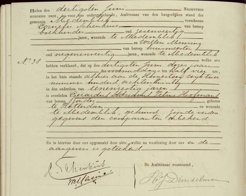 1903.06.30 Overlijden Gerardus Adrianus Petrus